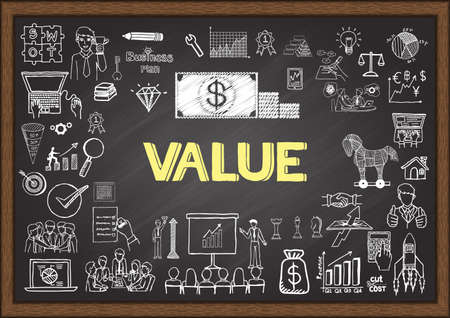 Doodles about value on chalkboard.