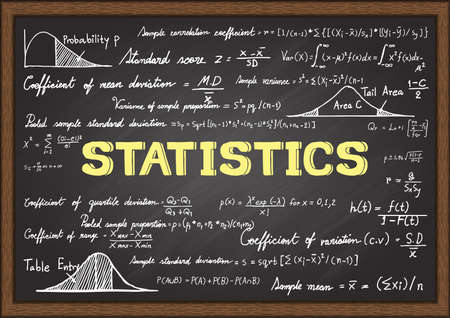 subject: Hand drawn formulas in Statistics subject on chalkboard. Illustration