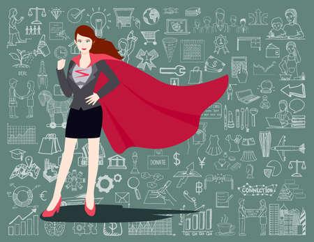 スーパー ヒーロー スーツの女性実業家