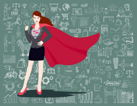 woman face: Businesswoman in a Superhero suit