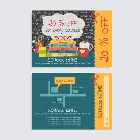 half stuff: Discount voucher template design for tutoring school and or school stuff store