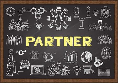 relate: Doodle about partner on chalkboard Illustration