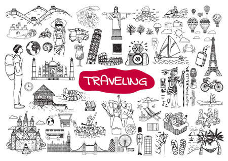 freehand: Traveling around the world doodle set