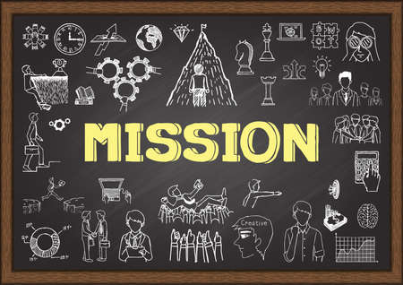 vision mission: Doodle about mission on chalkboard.