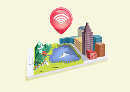 wifi access: Isometric mobile wifi. Design for all kind of application access from anywhere they have internet. Vettoriali