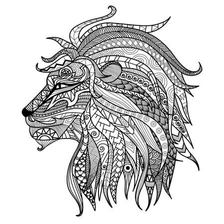 adults: Hand drawn lion coloring page.