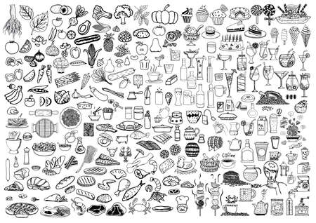 Set of food and drinks doodle on white background. Çizim