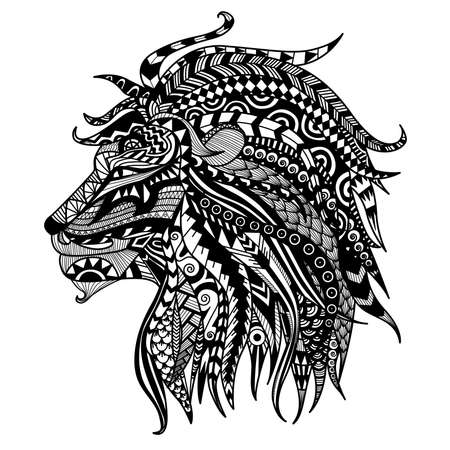 zoologico: Dibujado a mano para colorear león.