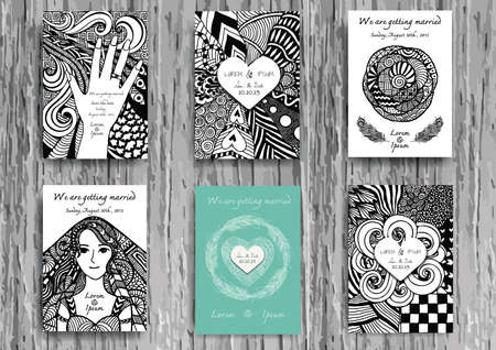 freehand: Set of hand drawn zentangle on A4 template for print. Wedding card design template.