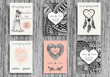 dreams: Set of hand drawn zentangle on A4 template for print. Wedding card design template.