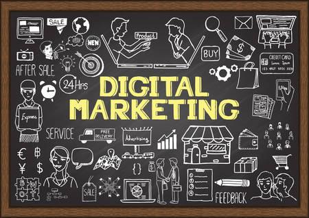 chalkboard: Tiré par la main d'info graphique sur tableau avec le concept de marketing numérique.