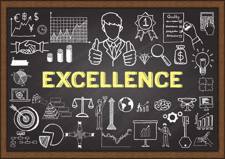about: Business doodles about excellence on chalkboard.