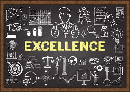 proposito: garabatos de negocios acerca de la excelencia en la pizarra. Vectores