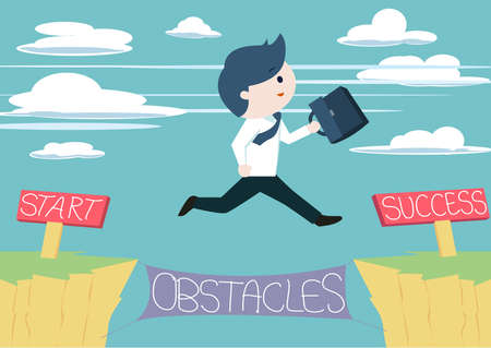 goals: Cute businessman jump across the obstacles from start to success point. Cute business man jump across the cliff without fear of failures. Taking risk in order to success or achieve his goal.