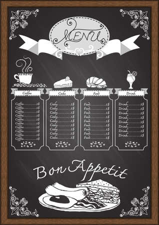 Coffee,food,bakery,cake,drink menu on chalkboard with ornamental and wooden frame design template.