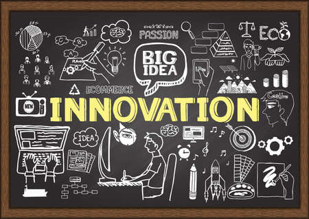 lightbulbs: Hand drawn INNOVATION on chalkboard. Business plan. Illustration