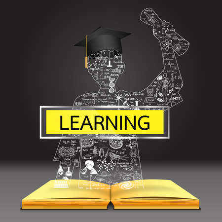 graduated: Learning concept. The knowledge from the book becomes successful graduated student. Education doodles including the word ROMANIAN in Romanian,CHINESE in Chinese,KOREAN in Korean and other languages. Illustration
