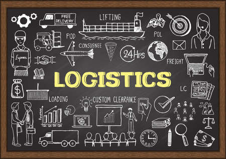 shipping supplies: Doodles about logistics on chalkboard. Illustration