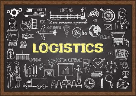 cadenas: Doodles sobre la logística en la pizarra. Vectores