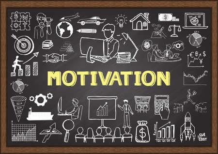 ビジネスは、動機づけの概念と黒板に落書き。  イラスト・ベクター素材