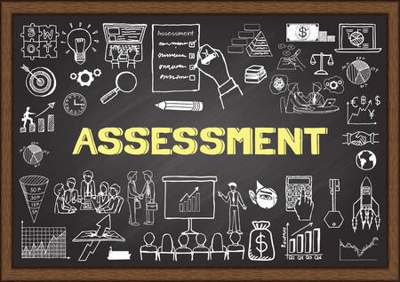audit: Business doodles about assessment on chalkboard. Illustration