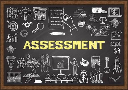Business doodles about assessment on chalkboard. Illustration