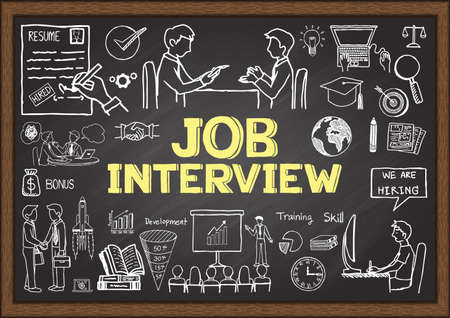 interview: Business doodles on chalkboard with the concept of job interview. Illustration