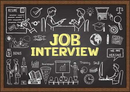 competencias laborales: Garabatos de negocios en la pizarra con el concepto de entrevista de trabajo. Vectores