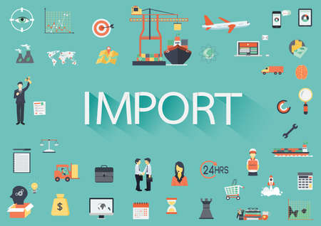 import trade: Word IMPORT with involved set of flat icons around.