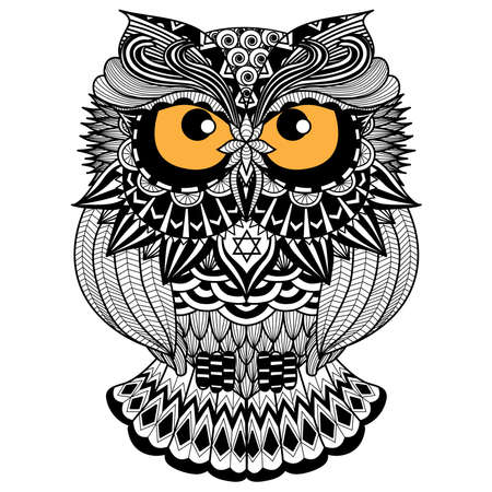 printable coloring pages: Ethnic owl  african  indian  totem for shirt design