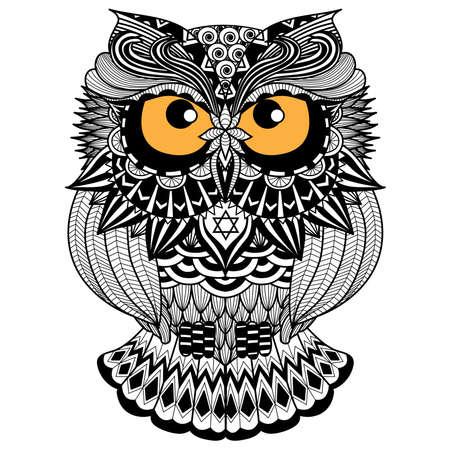 T シャツ デザインのエスニック フクロウ アフリカ インド トーテム 写真素材 - 44448625