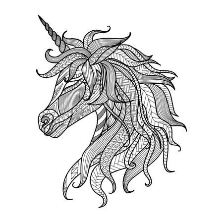 printable coloring pages: Drawing unicorn zentangle style for coloring book, tattoo, shirt design, logo, sign
