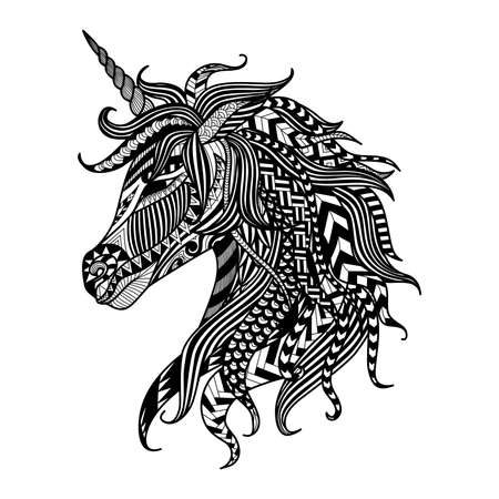 printable coloring pages: Drawing unicorn   style for coloring book, tattoo, shirt design,  sign