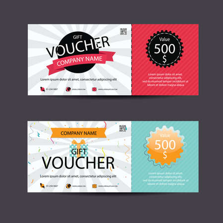 Voucher, Cadeaubon, Coupon sjabloon, vector