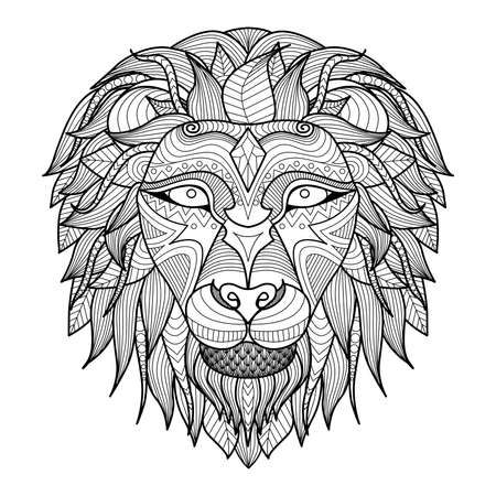 digital book: Ethnic patterned head of lion on white background african  indian  totem  tattoo design. Use for print, posters, t-shirts,coloring book