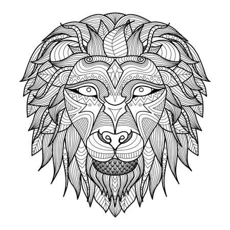 dessin au trait: Tête à motif ethnique de lion sur fond blanc la conception de tatouage totem indien africain. Utilisez pour l'impression, affiches, t-shirts, livre de coloriage Illustration