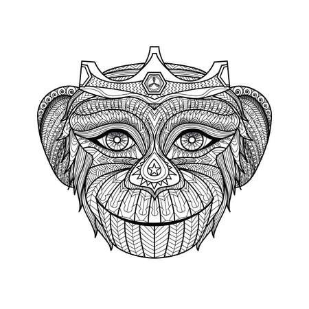 king: Dibujado a mano rey de p�gina para colorear monos. ID de la imagen: 310684310