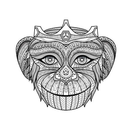 monkey face: Hand drawn king of monkeys coloring page.  Image ID: 310684310