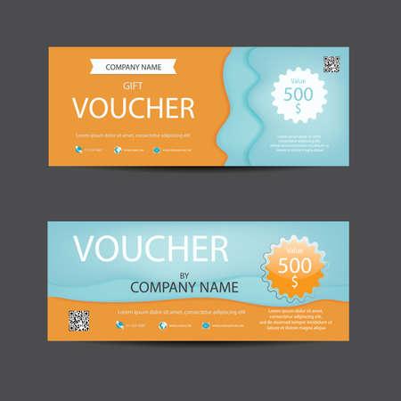lively: Bright lively orange and blue voucher template. Illustration