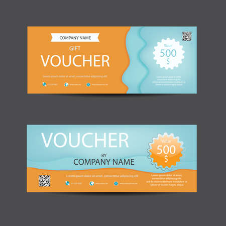 Bright lively orange and blue voucher template. Illustration