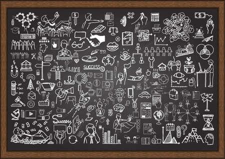 Set of business situation doodles on chalkboard.