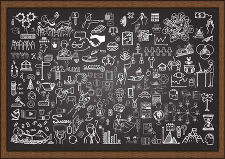 Set of business situation doodles on chalkboard.