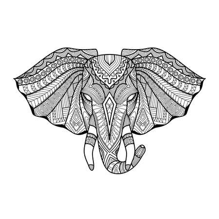 Tekening unieke etnische olifant hoofd voor print, patroon, logo, pictogram, shirt design, kleurplaat.