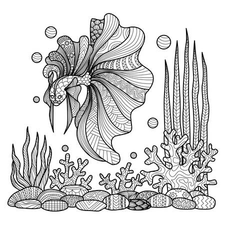 coloring pages to print: Fighting fish