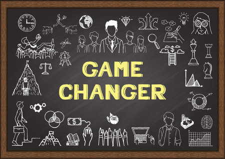Doodle about game changer on a chalkboard.