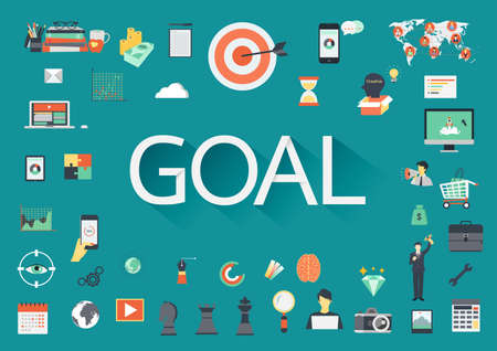 idea hurdle: The word GOAL surrounding by flat icons