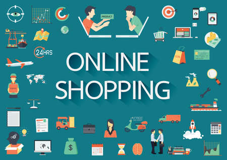 Word ONLINE SHOPPING with big set of involved flat icons around. Ilustracja