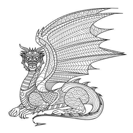 Tekening draak voor kleurboek. Stock Illustratie