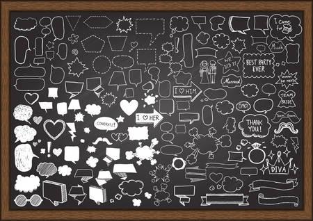 Hand getekende tekstballonnen met huwelijksfeest elementen op krijtbord. Stockfoto - 45721018