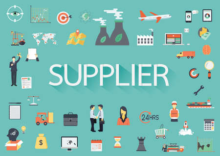 supply chain: The word SUPPLIER with concerning flat icons around